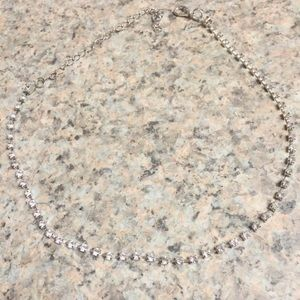 New Silver & Clear Stone choker necklace